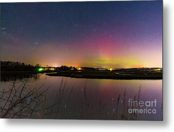 March 6 Aurora Over Scarborough Marsh  Metal Print