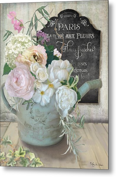 Marche Paris Fleur Vintage Watering Can With Peonies Metal Print