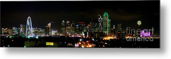 Margaret Hunt Hill Bridge And Dallas Skyline Metal Print