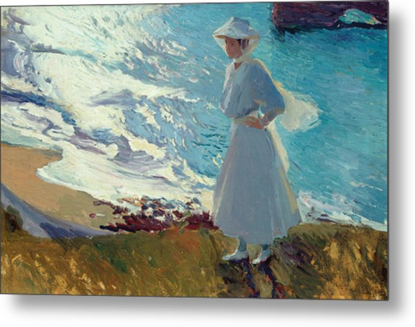 Maria On The Beach At Biarritz Or Contre-jour Metal Print