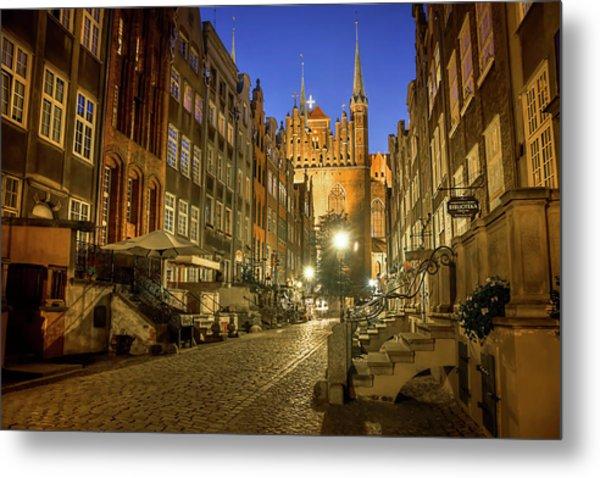 Mariacka Street Gdansk By Night  Metal Print