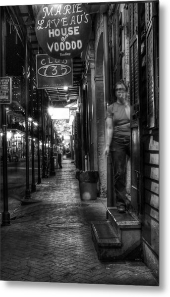 Marie Laveau's House Of Voodoo At Night In Black And White Metal Print