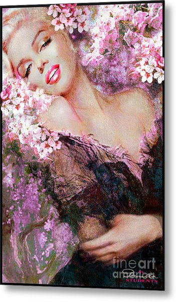 Marilyn Cherry Blossoms Pink Metal Print