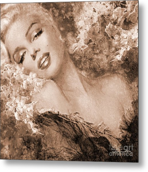 Marilyn Cherry Blossoms, Sepia Metal Print
