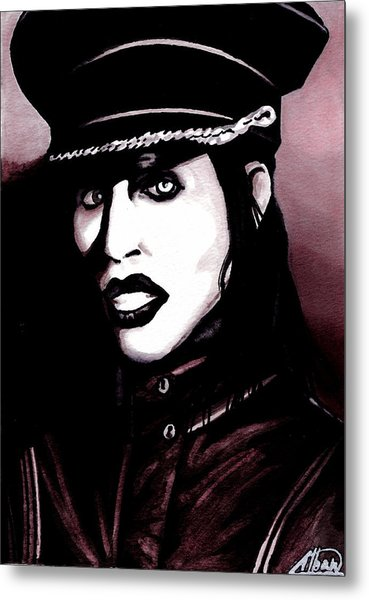 Marilyn Manson Portrait Metal Print by Alban Dizdari