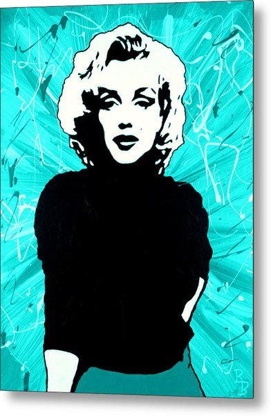 Marilyn Monroe Blue Green Aqua Tint Metal Print
