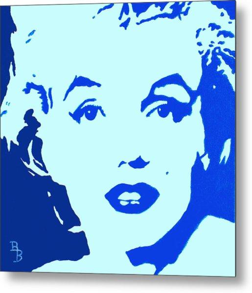 Marilyn Monroe Blue Pop Art Portrait Metal Print