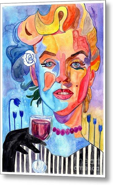 Marilyn Monroe Drinking Wine Metal Print