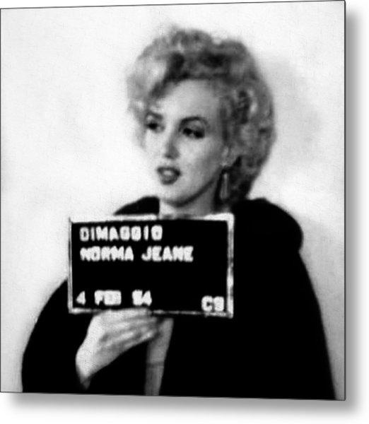 Marilyn Monroe Mugshot In Black And White Metal Print