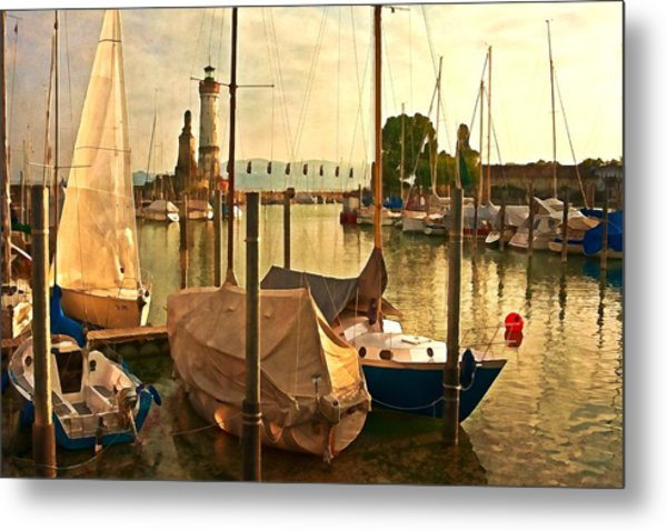 Marina At Golden Light - Digital Paint Metal Print