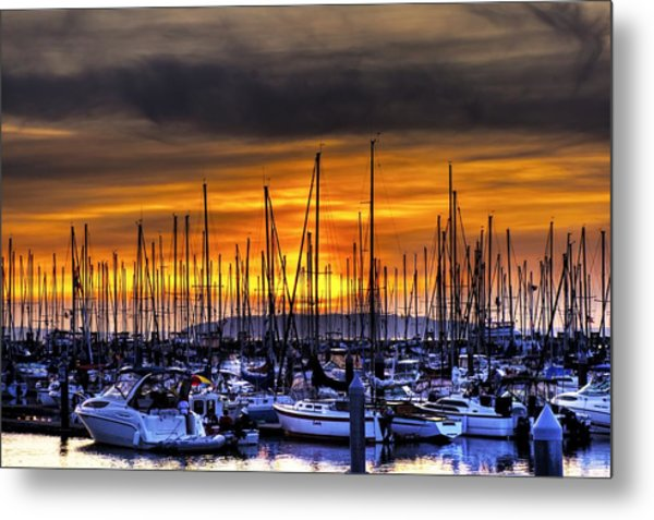 Marina At Sunset Metal Print