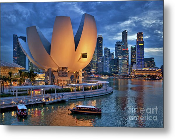 Metal Print featuring the photograph Marina Bay Sands Resort With The Singapore Skyline by Sam Antonio Photography