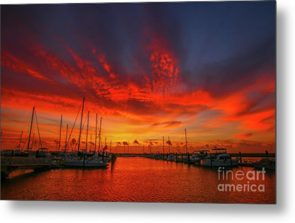 Marina Sunrise - Ft. Pierce Metal Print