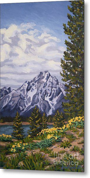 Metal Print featuring the painting Marina's Edge, Jenny Lake, Grand Tetons by Erin Fickert-Rowland