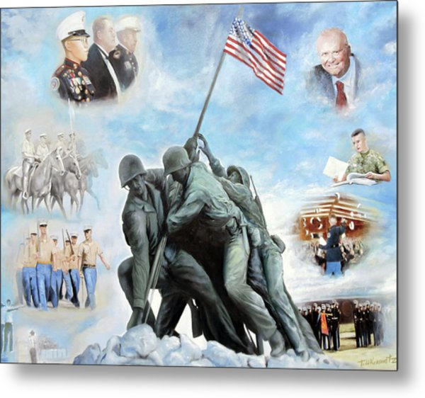 Marine Corps Art Academy Commemoration Oil Painting By Todd Krasovetz Metal Print