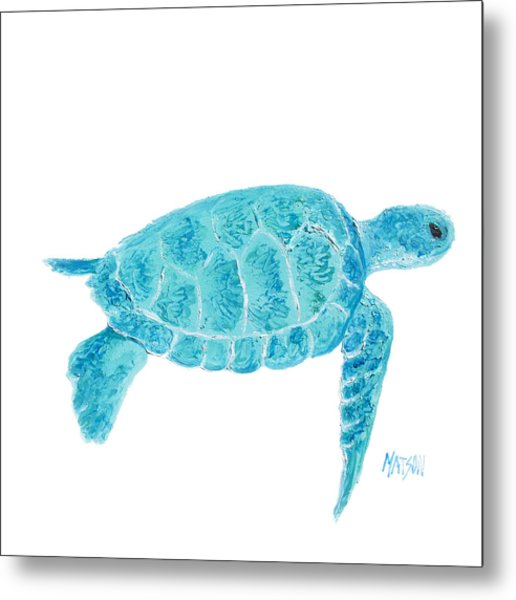 Marine Turtle Painting On White Metal Print