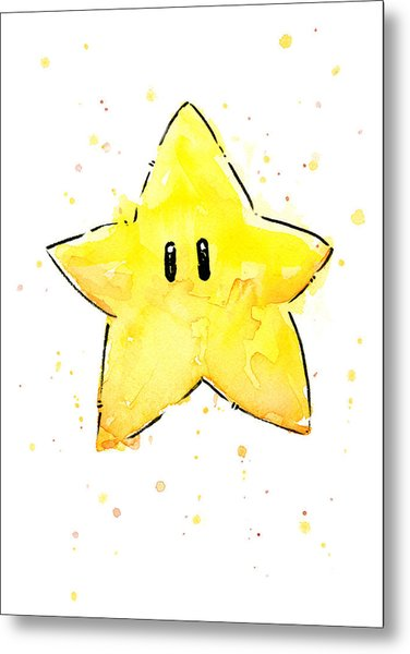 Mario Invincibility Star Watercolor Metal Print