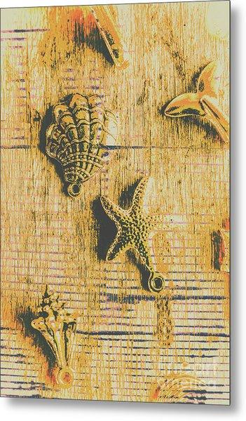 Maritime Sea Scroll Metal Print