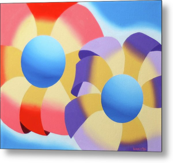 Mark Webster - Abstract Futurist Flowers Oil Painting Metal Print by Mark Webster