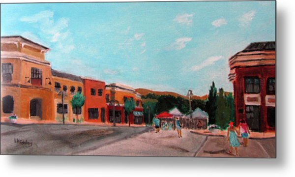 Metal Print featuring the painting Market Day by Linda Feinberg