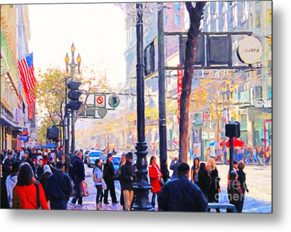 Market Street - Photo Artwork Metal Print by Wingsdomain Art and Photography