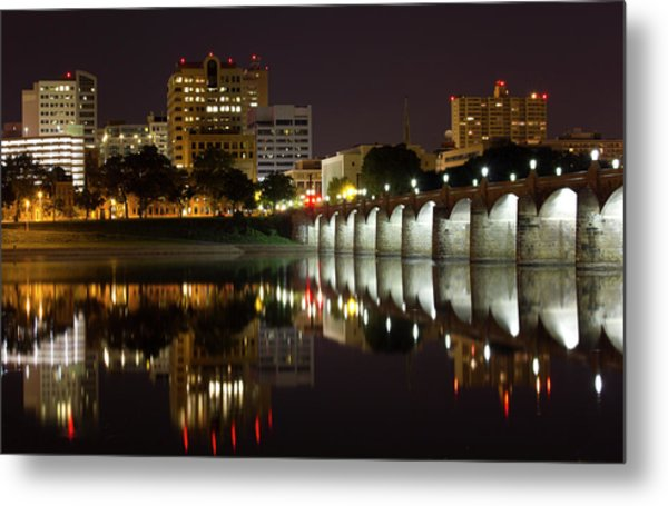 Market Street Bridge Reflections Metal Print