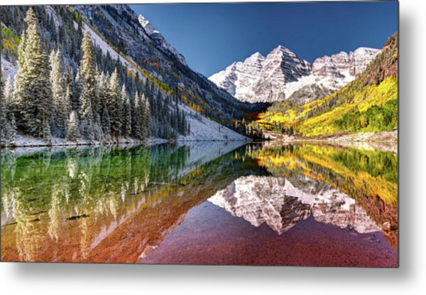 Olena Art Sunrise At Maroon Bells Lake Autumn Aspen Trees In The Rocky Mountains Near Aspen Colorado Metal Print