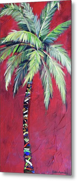 Maroon Palm Tree Metal Print