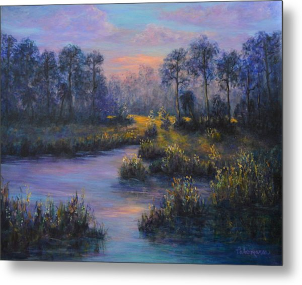 Marsh Sunset Nature Wetland Trees Print Of Panting Metal Print