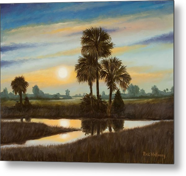 Marsh Sunset Metal Print