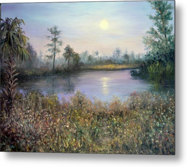 Marsh Wetland Moon Landscape Painting Metal Print