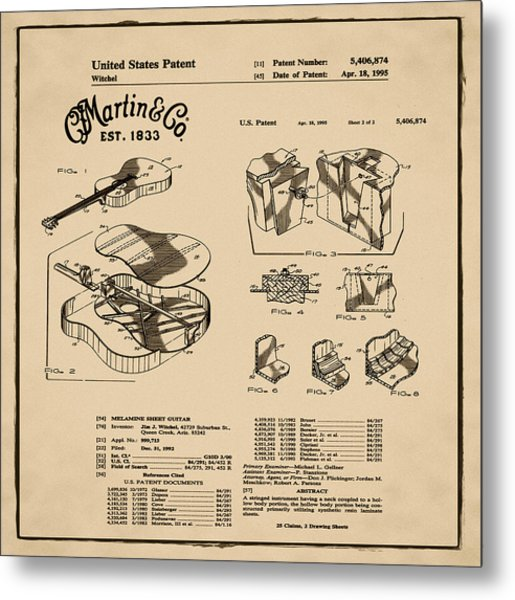 Martin Guitar Patent Dx1 1995 Sepia Metal Print