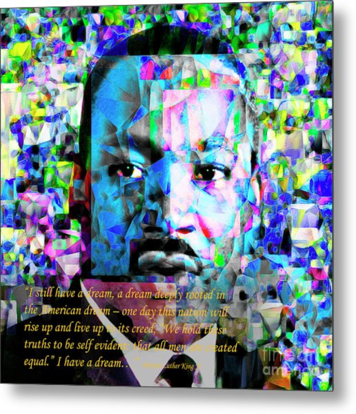 Martin Luther King Jr In Abstract Cubism 20170401 Text Metal Print by Wingsdomain Art and Photography