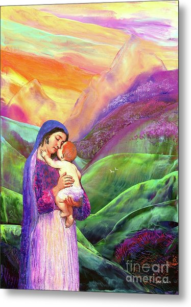 Mary And Baby Jesus Gift Of Love Metal Print