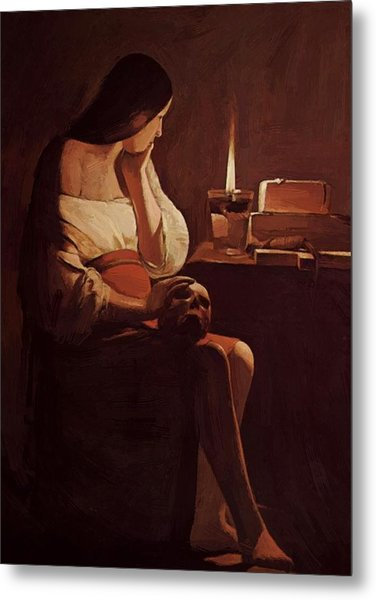 Mary Magdalene With A Night Light 1635 Metal Print