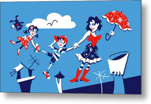 Mary Poppins - Children Book Illustration Metal Print by Arte Venezia