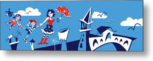 Mary Poppins Flying In Venice Skyline Metal Print by Arte Venezia