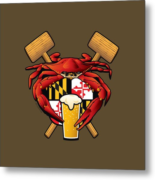 Maryland Crab Feast Crest Metal Print