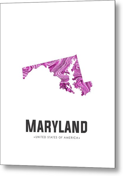 Maryland Map Art Abstract In Purple Metal Print