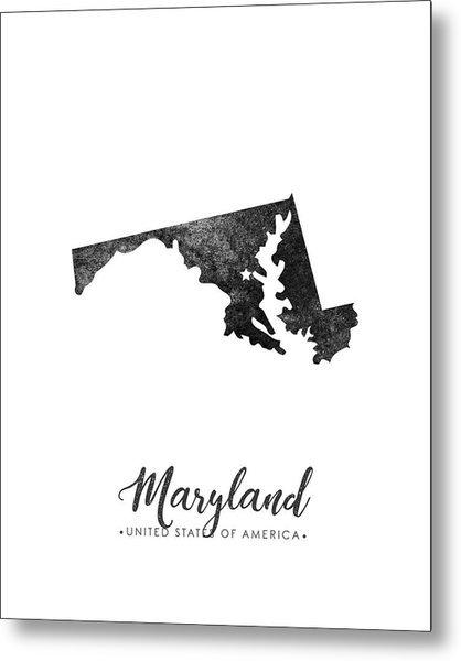 Maryland State Map Art - Grunge Silhouette Metal Print