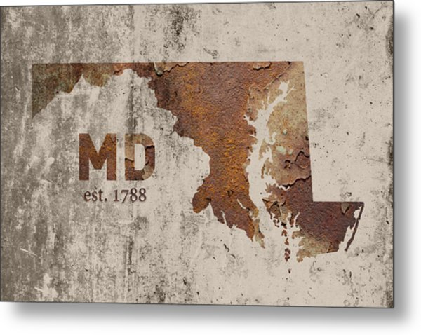 Maryland State Map Industrial Rusted Metal On Cement Wall With Founding Date Series 027 Metal Print