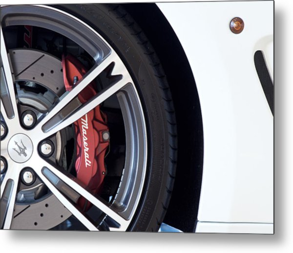 Maserati Wheel White Metal Print