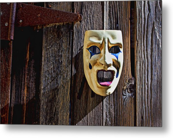 Mask On Barn Door Metal Print