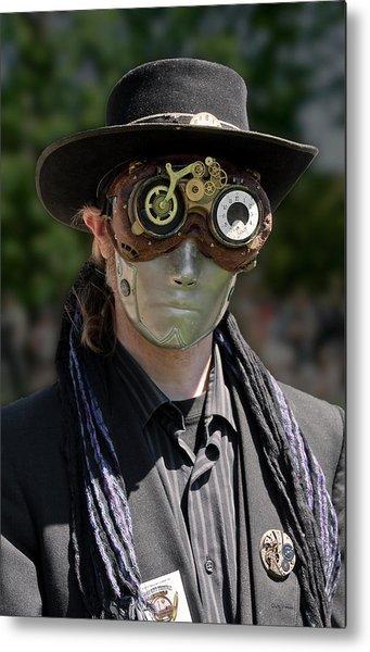 Masked Man - Steampunk Metal Print