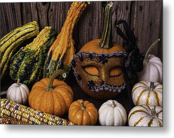 Masked Pumpkin Metal Print