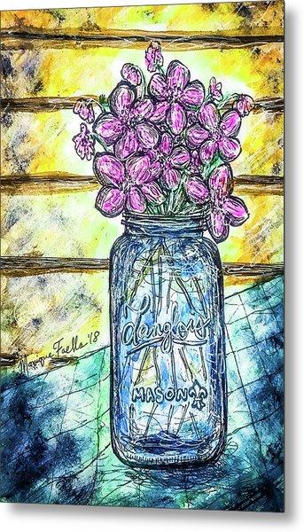 Mason Jar Bouquet Metal Print