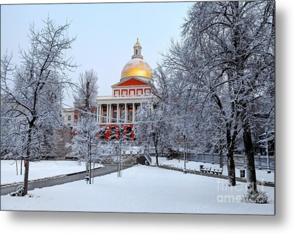 Massachusetts State House In Winter Metal Print by Denis Tangney Jr