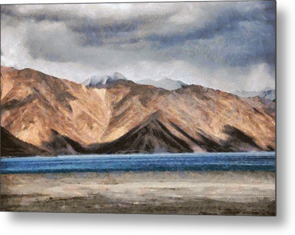 Massive Mountains And A Beautiful Lake Metal Print