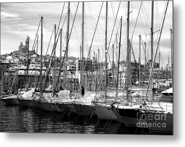 Masts In The Harbor Metal Print by John Rizzuto