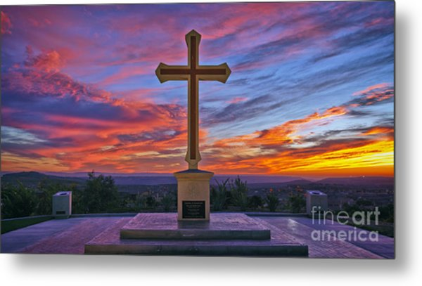 Christian Cross And Amazing Sunset Metal Print